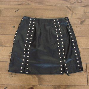 DO+BE Black Faux Leather Studded A-Line Mini Skirt